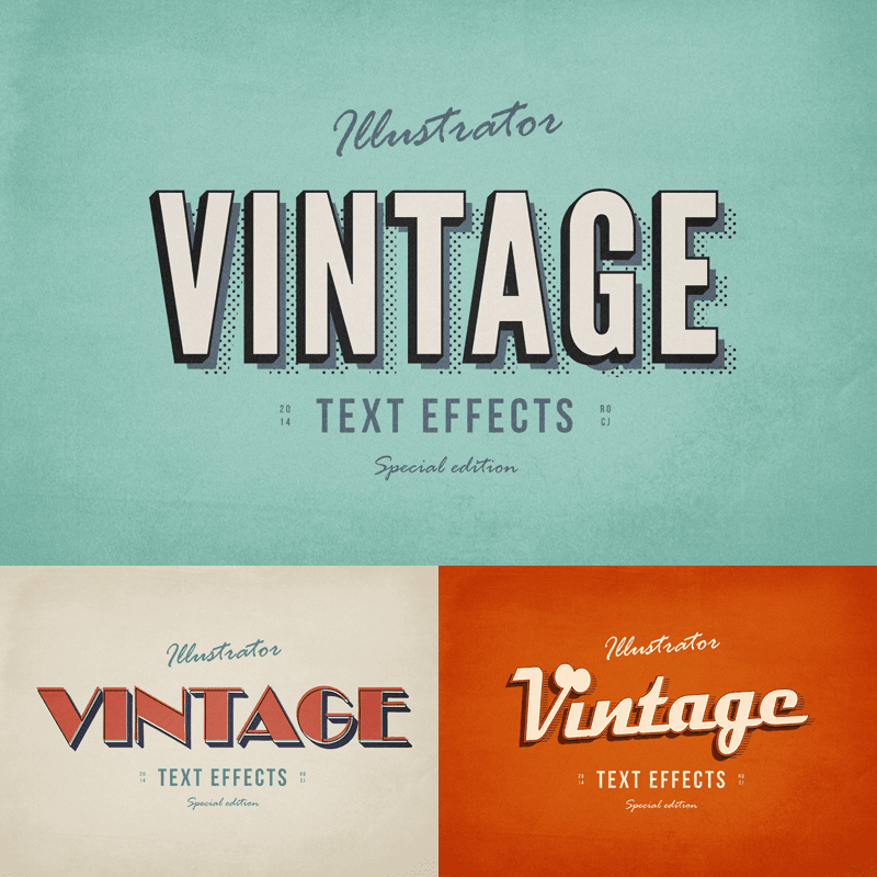 3 Illustrator Vintage Text Effects