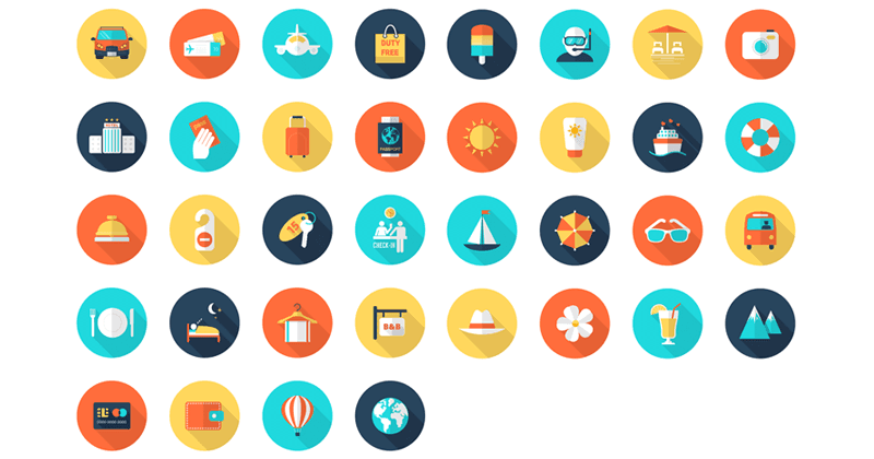 Freebie: Travel and Vacation Icon Set (AI, EPS, PSD)