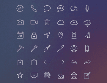 iOS 7-Inspired Line Icons