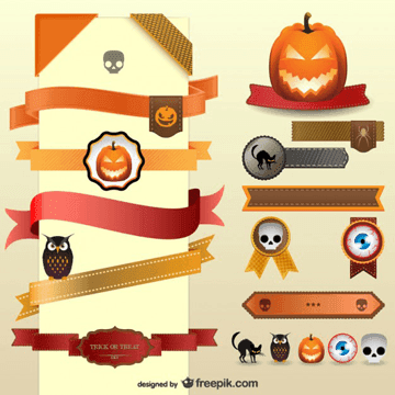 Halloween decoration vector ribbons