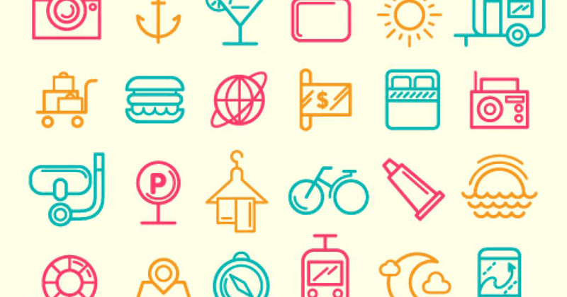 Simple travel icons set line design