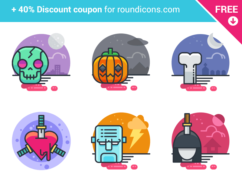 20 Halloween Flat Icons - FREE