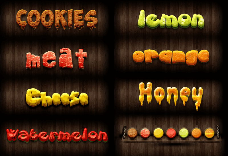 7 Flavours text style (free psd file)