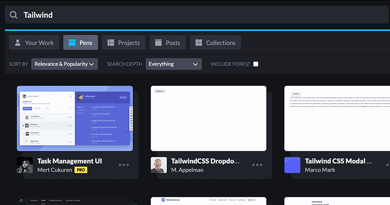 CodePen Search