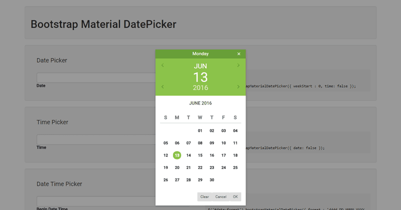 Bootstrap Material DatePicker